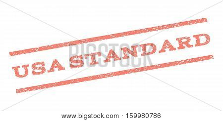 USA Standard watermark stamp. Text caption between parallel lines with grunge design style. Rubber seal stamp with dust texture. Vector salmon color ink imprint on a white background.