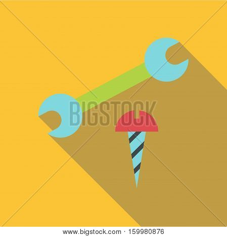 Wrench and bolt icon. Flat illustration of wrench and bolt vector icon for web