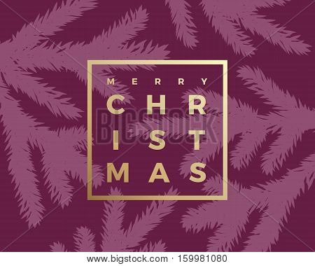 Merry Christmas Abstract Vector Classy Card. Modern Golden Typography in a Minimalism Frame. Purple Background.