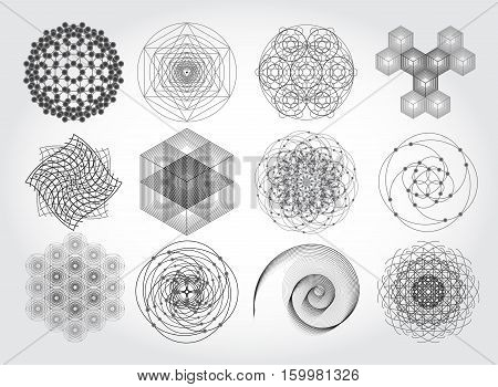 Sacred geometry symbols and elements set. 12 in 1.  Cosmic, universe, big bang, alchemy, religion, philosophy, astrology, science, physics, chemistry and spirituality themes. Matter, space, time.