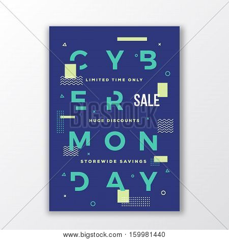 Cyber Monday Minimal Swiss Style Poster. Modern Handmade Typography. Geometry Decorative Elements and Soft Shadow. Isolated.