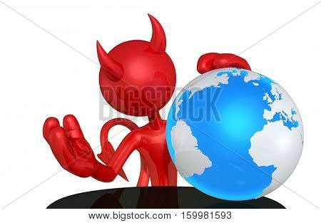 Devil Character With The World