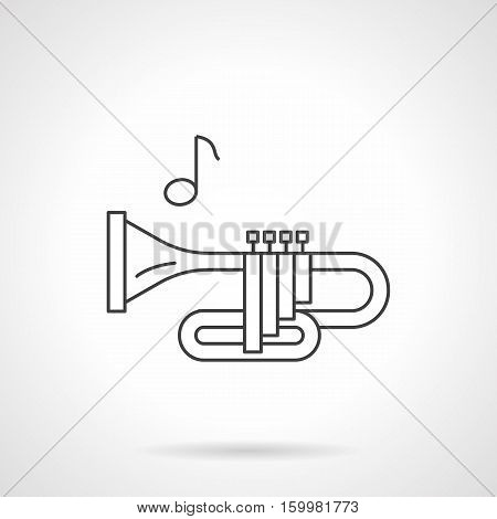Side view of bugle or trumpet and note. Brass wind instruments tune. Musical store and services. Flat black line vector icon.