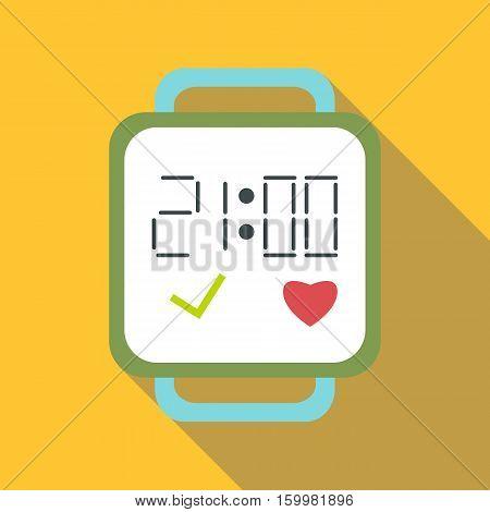 Fitness smart bracelet icon. Flat illustration of fitness smart bracelet vector icon for web