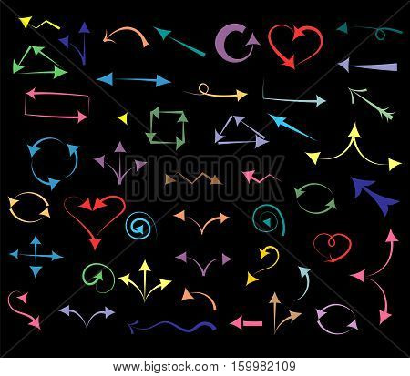Colorful Hand Drawn Arrows isolated on Black. Sketch Style. Prefect for Design. Vector Illustration.