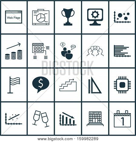 Set Of 20 Universal Editable Icons. Can Be Used For Web, Mobile And App Design. Includes Elements Such As Growth, Chip, Champagne Glasses And More.