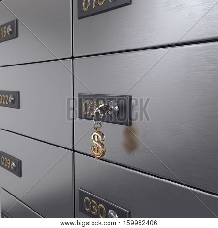 3D rendering chrome deposit boxes in the room