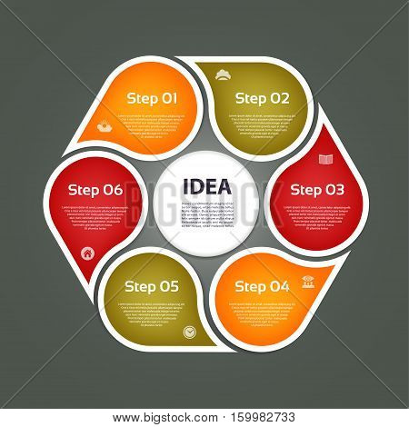 Circular arrows for infographics. Chart graph diagram with 6 steps options parts. Vector business template.