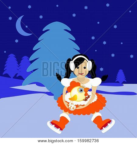 Miss Snow Maiden Santa Claus with symbol 2017 rooster chicken egg vector