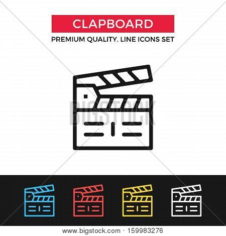 Vector clapboard icon. Clapperboard, lights camera action concept. Premium quality graphic design. Signs, outline symbols, simple thin line icons set for websites, web design, mobile app, infographics