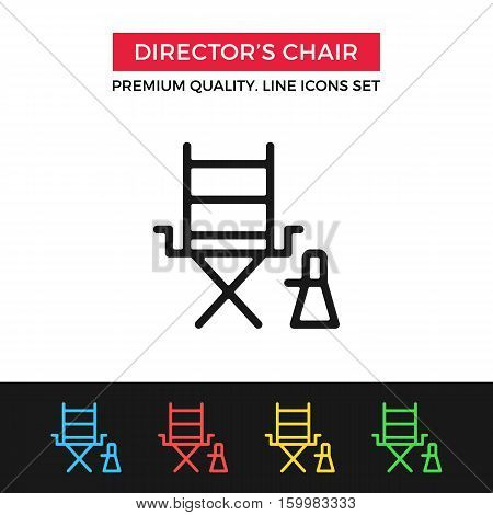 Vector director's chair icon. Filmmaking, film production. Premium quality graphic design. Modern signs, outline symbols, simple thin line icons set for websites, web design, mobile app, infographics