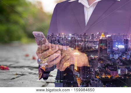double exposure of businessman cityscape and garden - can use to display or montage on product