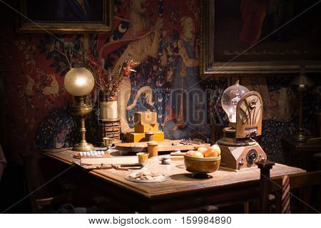 Leavesden, London, UK - 1 March 2016: Interior of student's living room. Decoration Warner Brothers Studio