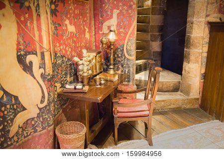 Leavesden, London, UK - 1 March 2016: Interior of student's living room. Decoration Warner Brothers Studio