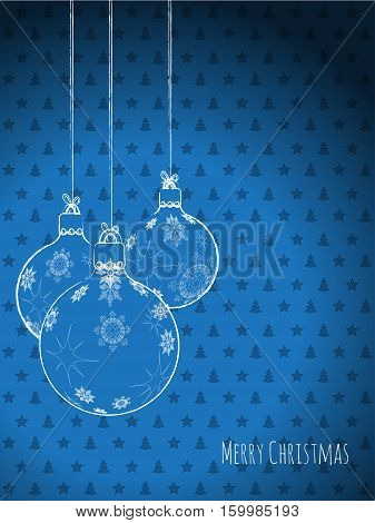 Scribbled christmas decorations on a blue background with stars and trees