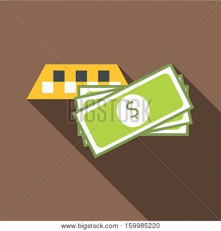 Checker taxi with money icon. Flat illustration of checker taxi with money vector icon for web