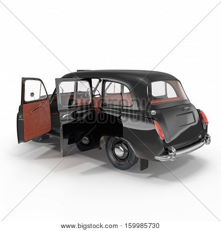 hackney carriage on white background. Doors opened. 3D illustration