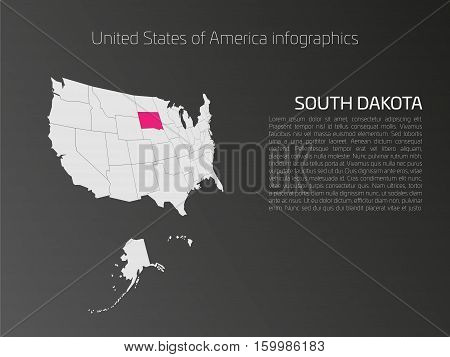 United States of America, aka USA or US, map infographics template. 3D perspective dark theme with pink highlighted South Dakota, state name and text area on the left side.