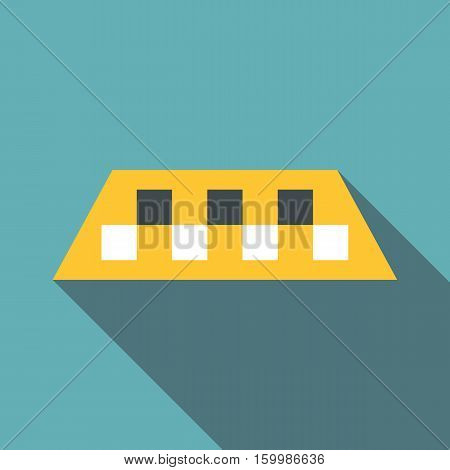 Yellow checker taxi icon. Flat illustration of yellow checker taxi vector icon for web