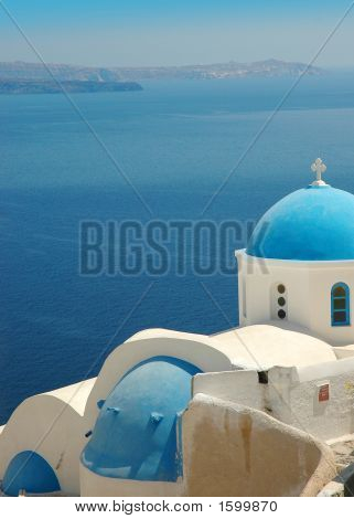 Santorini Blue Church Domes
