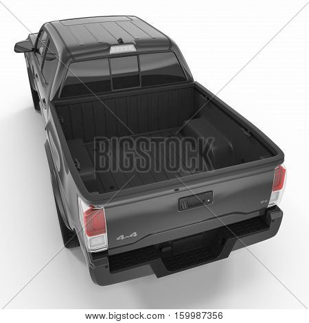 Rear view of empty pick-up truck on white background. 3D illustration