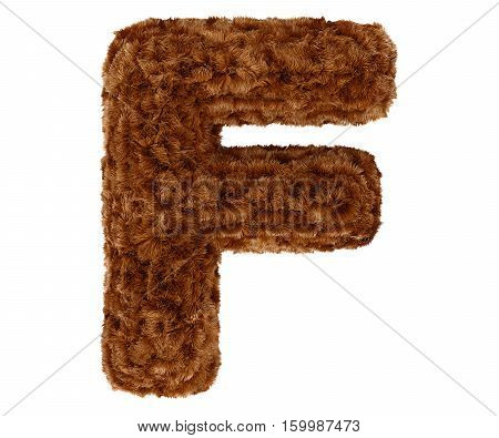 3D Bushy Bear Fur Alphabet Capital Letter F