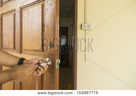 locksmith open the door by screwdriver - can use to display or montage on product