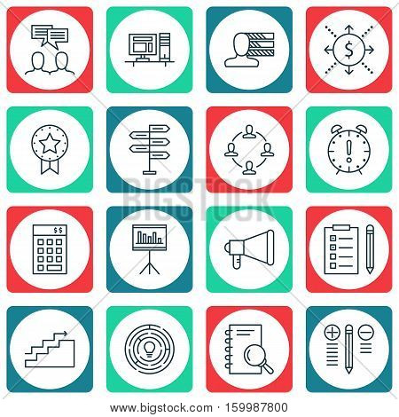 Set Of 16 Project Management Icons. Can Be Used For Web, Mobile, UI And Infographic Design. Includes Elements Such As Office, Task, Idea And More.