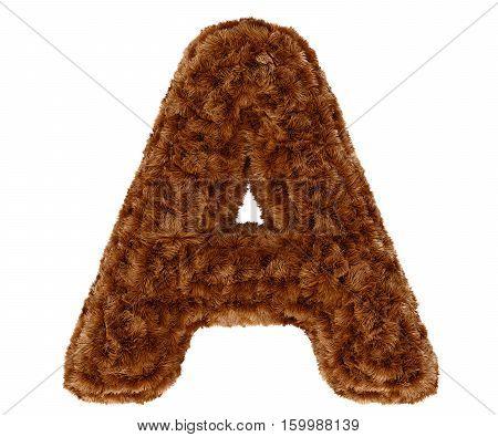 3D Bushy Bear Fur Alphabet Capital Letter A