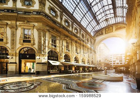 MILAN ITALY - AUGUST 29 2015: Luxury Store in Galleria Vittorio Emanuele II shopping mall in Milan with tasted Italian restaurants