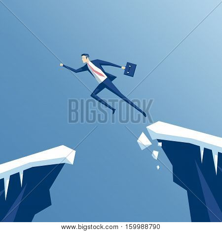businessman with a running jump over the abyss an employee jumps from one rock to another business concept of overcoming challenges and success