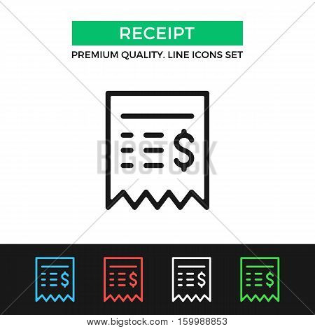 Vector sales receipt icon. Restaurant check, ATM bill. Premium quality graphic design. Signs, outline symbols collection, simple thin line icons set for websites, web design, mobile app, infographics