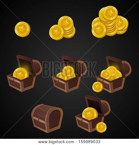 Wooden Chest set for game interface. illustration. treasure of gold coins on dark background: closed, empty, chests with golden coin