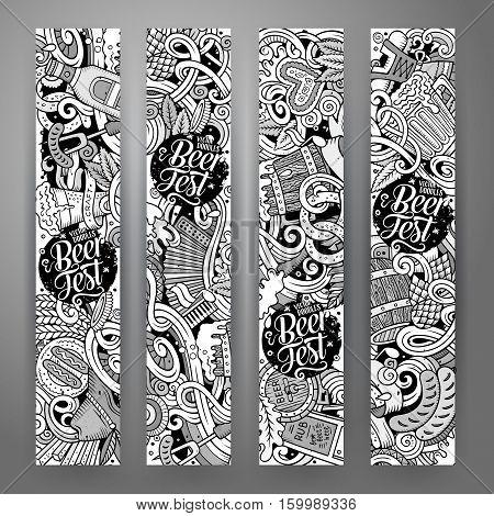 Cartoon cute sketch vector hand drawn doodles Octoberfest corporate identity. 4 vertical banners design. Templates set