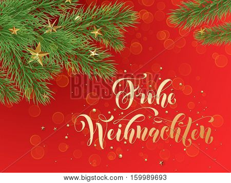German Merry Christmas Frohe Weihnachten. Golden decoration ornaments of stars and Christmas ball on decorative red background with Christmas tree branches. Merry Christmas text calligraphy lettering