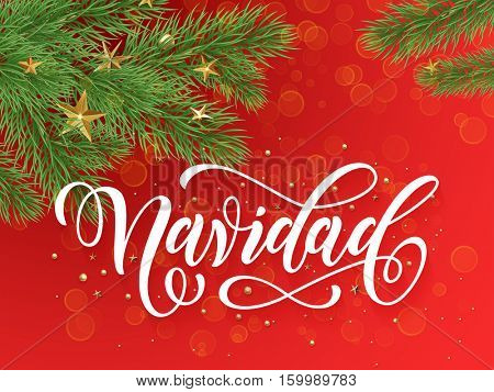 Spanish Merry Christmas Navidad background decoration ornaments of gold stars, golden balls, Christmas tree branches. Merry Christmas text calligraphy lettering