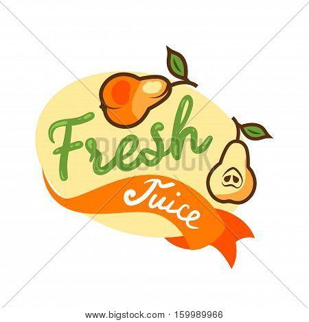 Colorful fresh juice emblem, vector illustration for your design.