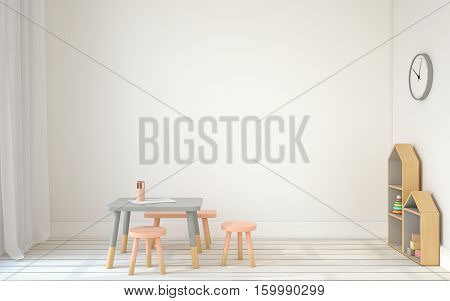 Interior of playroom with small table and three chairs. Scandinavian style. 3d render.