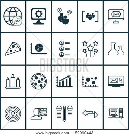 Set Of 20 Universal Editable Icons. Can Be Used For Web, Mobile And App Design. Includes Elements Such As Crossroad, Circle Graph, Comparison And More.