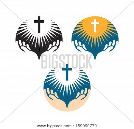 Crucifix symbol. Crucifixion of Jesus Christ icons. Church logo isolated on white background