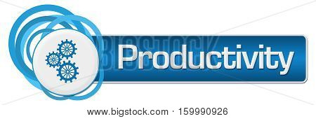 Productivity concept image with text and gears symbol.