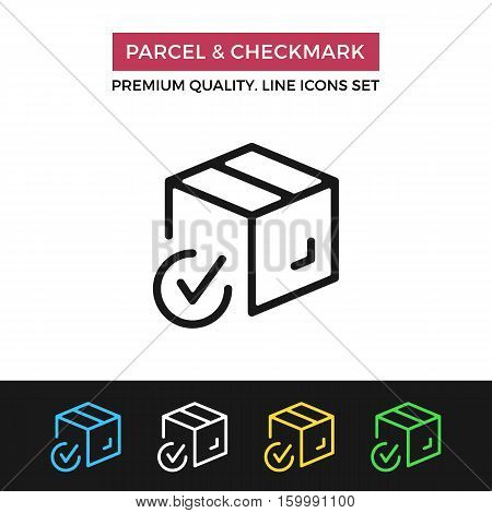 Vector parcel and checkmark icon. Parcel successfully delivered. Premium quality graphic design. Modern Signs, symbols, simple thin line icons set for websites, web design, mobile app, infographics