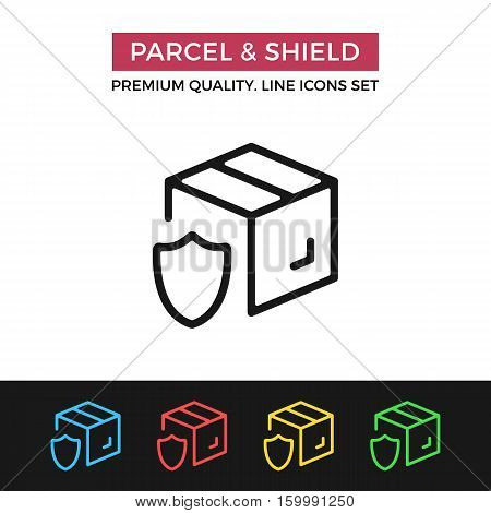 Vector parcel and shield icon. Shipping guarantee, delivery protection. Premium quality graphic design. Signs, symbols, simple thin line icons set for websites, web design, mobile app, infographics