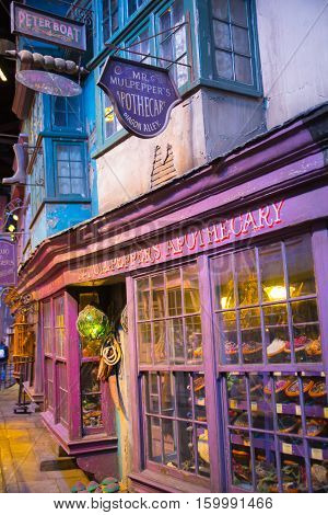 Leavesden, London, UK - 1 March 2016: Shops  windows display with magic objects in Diagon Alley from Harry Potter film. Warner Brothers Studio