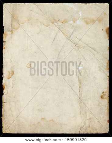 Abstract paper page texture with paint stains folds and dirt