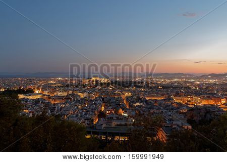 Athens Greece panoramic view in the dusk
