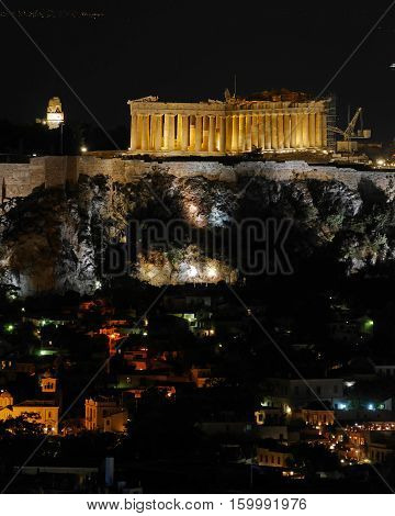 Athens Greece night view of Parthenon and Plaka old neighborhood