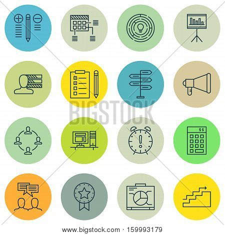 Set Of 16 Project Management Icons. Can Be Used For Web, Mobile, UI And Infographic Design. Includes Elements Such As Win, Chart, Plan And More.