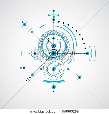 Technical blueprint vector digital background with geometric design elements circles. Illustration of engineering system abstract technological backdrop in blue color.