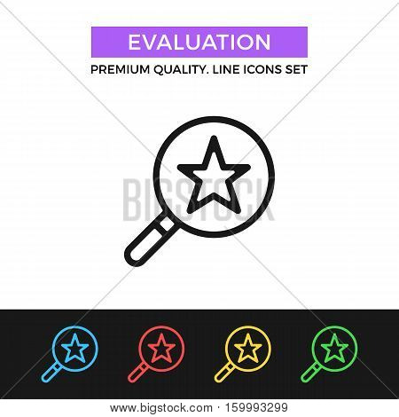 Vector evaluation icon. Magnifying glass and star. Rate, evaluate concept. Premium quality graphic design. Signs, symbols, simple thin line icons set for websites, web design, mobile app, infographics